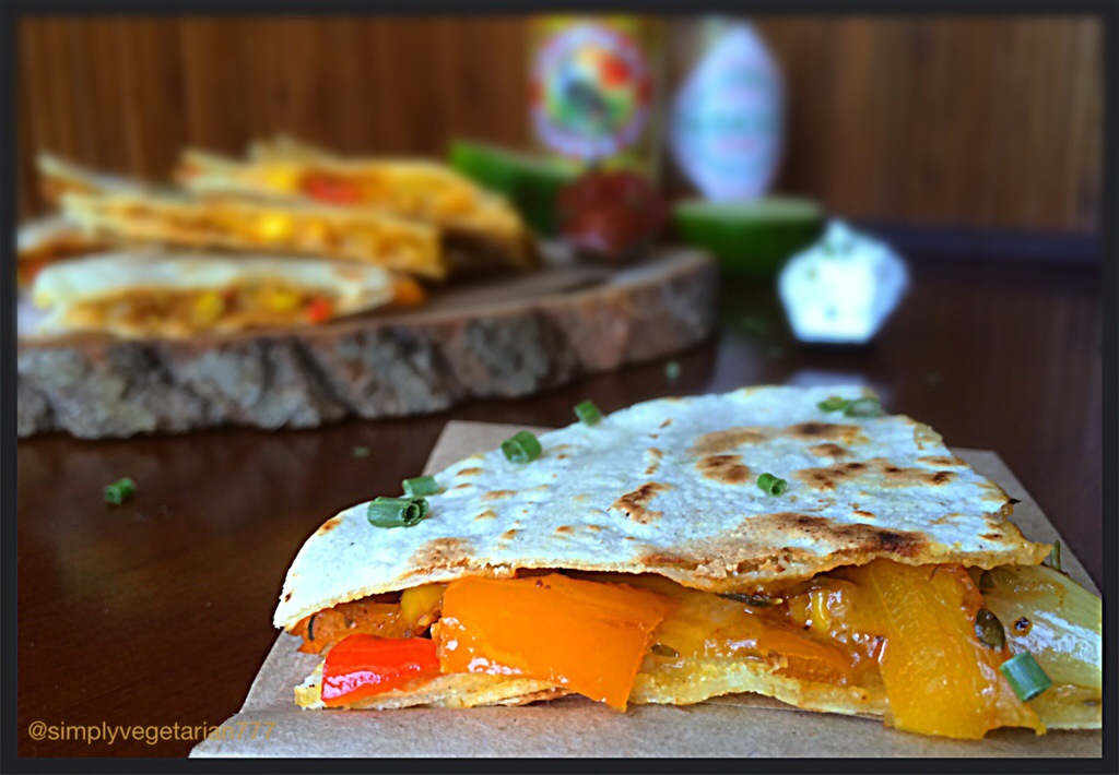 Meatless Mondays : Bell pepper, Onion & Cheese Quesidellas with Home made Taco Seasoning
