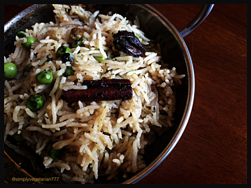 Mint & Peas Pulav is a delicately flavored pulao with mint. It is a delicious meal in itself. #vegetarianpulao #vegetablepulao