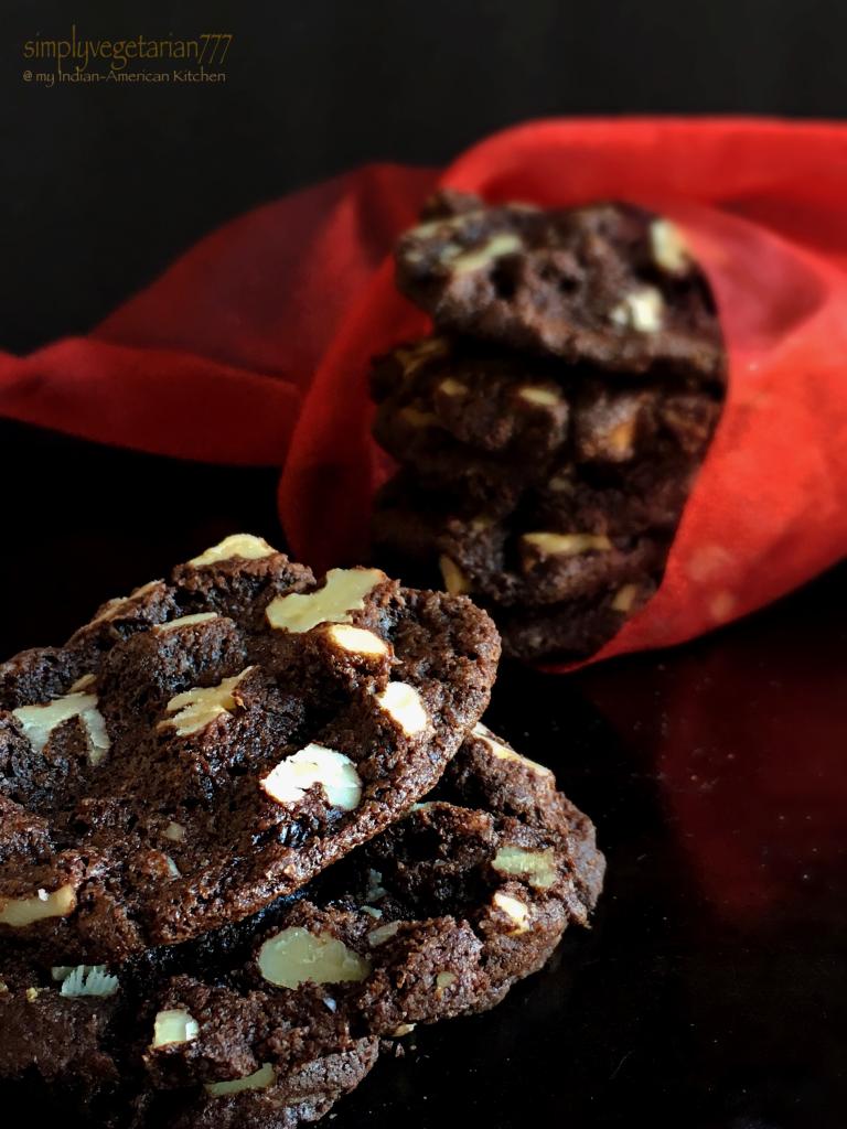 Crisp Walnut Chocolate Cookies, Eggless