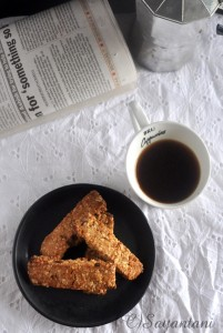 Nutty Gingery Oatmeal Cookie Bars by Sayantani