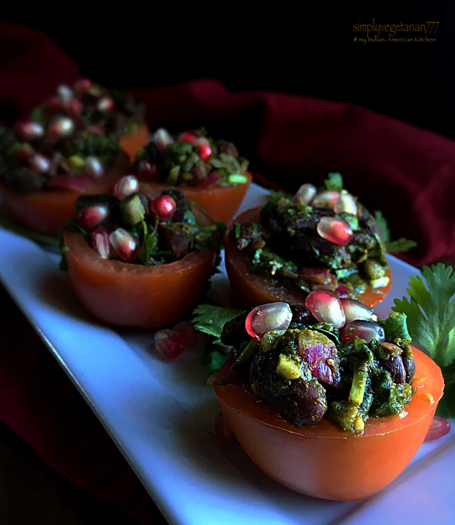 Spicy Rajma Chaat in Tomato Baskets