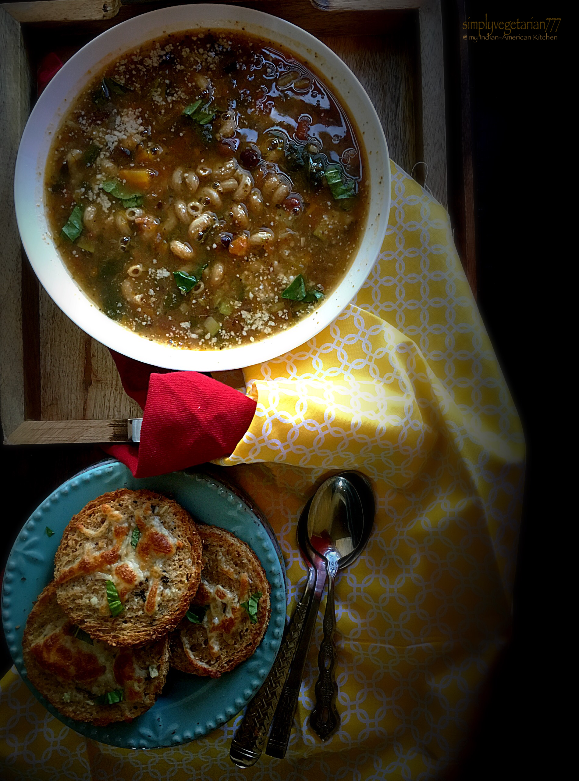 Home-Style Minestrone Soup & Garlic Cheese Discs