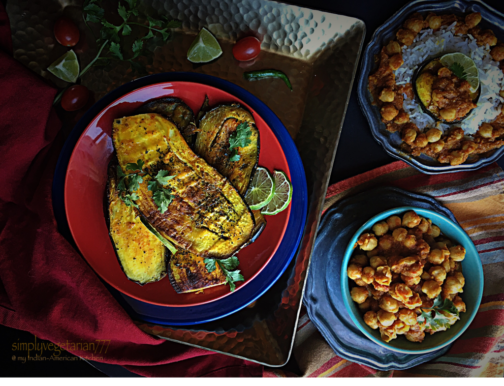 Curried Eggplant Steaks with Chickpeas