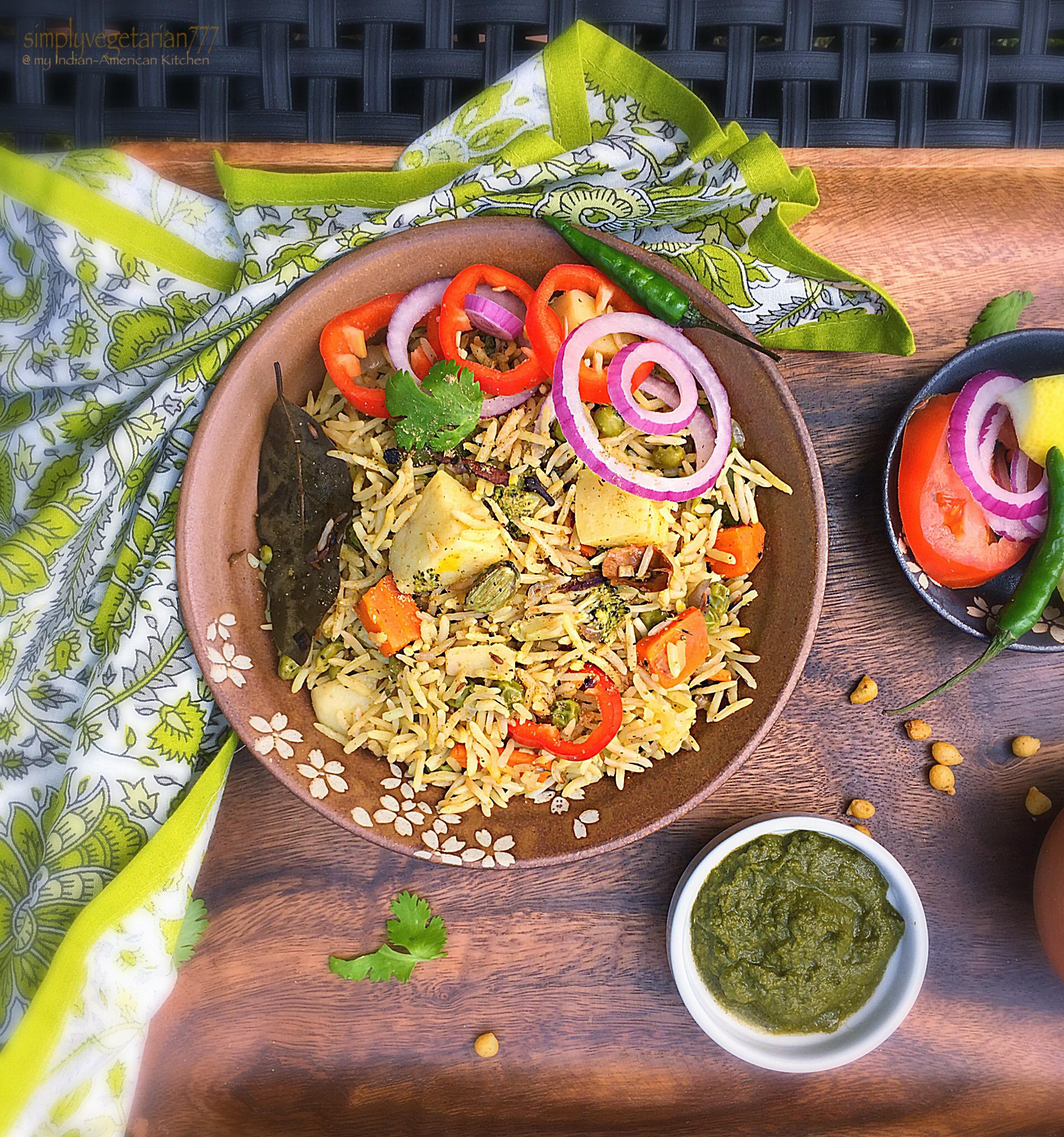 One Pot Mix Veg Green Biryani - Meatless Monday