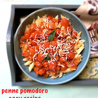 Penne Pomodoro Easy Recipe is the best pasta recipe made with fresh tomatoes. #penne #pomodoro #pasta #easypastarecipe