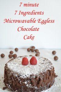 7 Ingredient Microwave Eggless Chocolate Cake