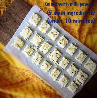 Barfi {Milk Fudge} - 5 Ingredients & Quick to Make with Milk Powder