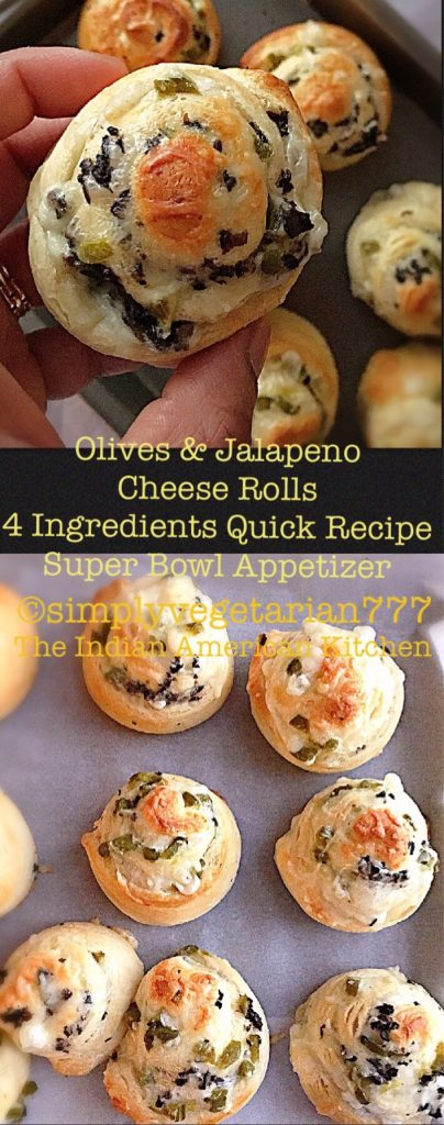 Olives Jalapenos Cheese Rolls - 4 Ingredients Quick Appetizer