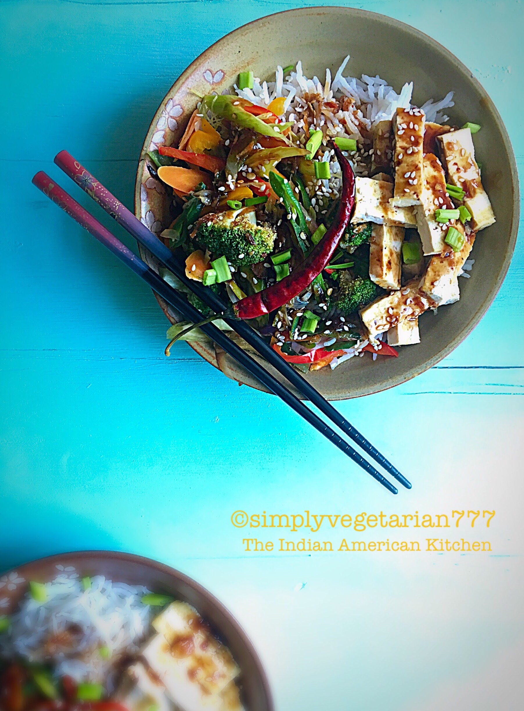 Mongolian Sauce Tofu Vegetable Rice Bowl