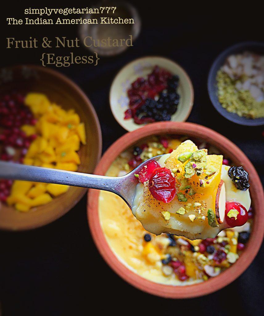 Fruit & Nuts Custard {Eggless}