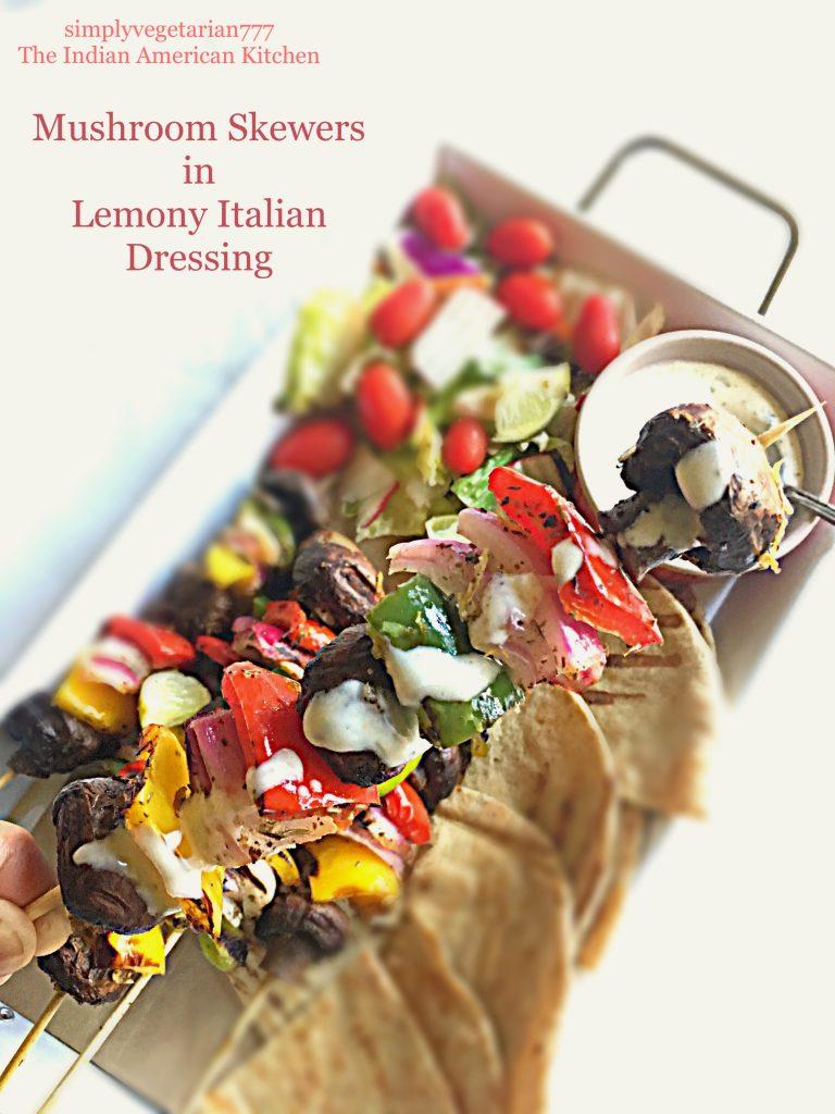 Mushroom Skewers in Lemony Italian Dressing