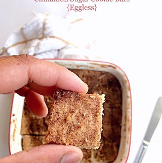 Cinnamon Sugar Cookie Bars Eggless