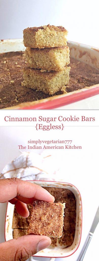 Cinnamon Sugar Cookie Bars Eggless
