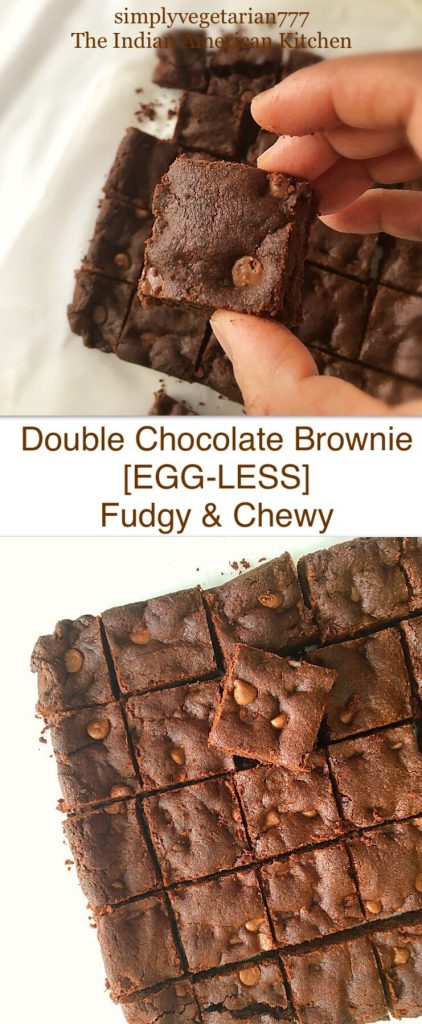 Eggless Double Chocolate Brownie - Fudgy & Chewy