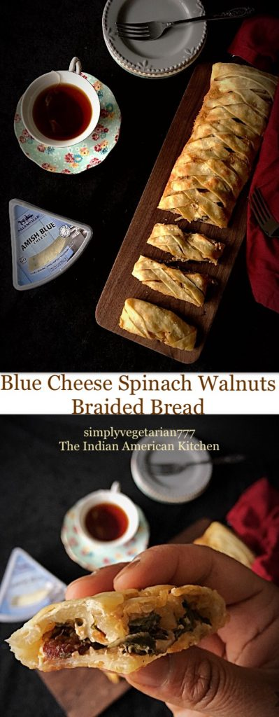 Blue Cheese Spinach Walnuts Braided Bread