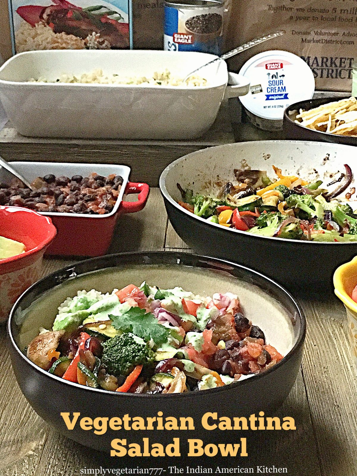 Vegetarian Cantina Salad Bowl, Tex Mex Salad Bowl, Giant Eagle Curbside Express Delivery #ad #GiantEagleDelivers  #vegetariansalad #texmex #cantinasalad #easyrecipes