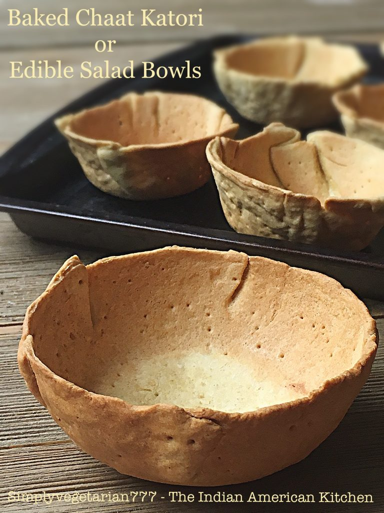Baked Chaat Katori is a detailed tutorial on how to bake a small bowl or katori for the street food or chaat from India. These small cups are then filled with different savory and spicy filling and toppings. #streetfood #indianfood #chaat #healthyrecipes #bakedkatori #chaatkatori #katorichaat #veganbowls #ediblebowls #saladbowls