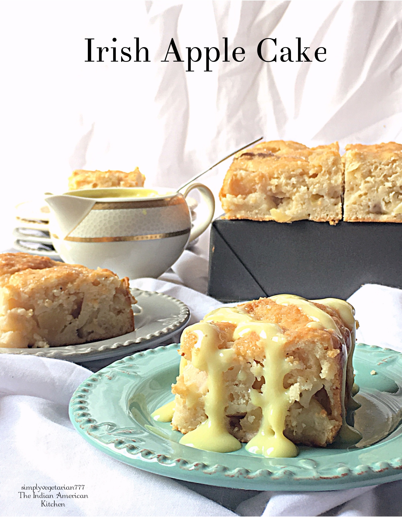 Irish Apple Cake is a type of Apple Bread from Ireland, with Crusty Top and Moist inside. This cake tastes amazing with Custard Sauce or Whipped Cream or Vanilla Ice-Cream. It is a perfect way to celebrate St. Patrick's Day, celebration from Ireland. #applecake #cakrecipe #egglesscake #eggfreecake #eggfreebakes #applebread #irishcake #irishapplecake #irishapplebread #stpatricksdayrecipes #stpatricksdaycakes