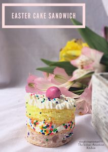 Easter Cake Sandwiches are little colorful cakes that have whipped cream spread in the middle. These are made using ready to bake Cake Mix. The cake sandwiches are so easy that you can bake these at the last minute for your Easter Party and decorate as desired. #eastercakes #easterdessert #readytobakecake #easycake #bitesizedessert #easterbrunch #easterparty #easycakedecoration #colorfulcake #unicorncake #kidscanbake