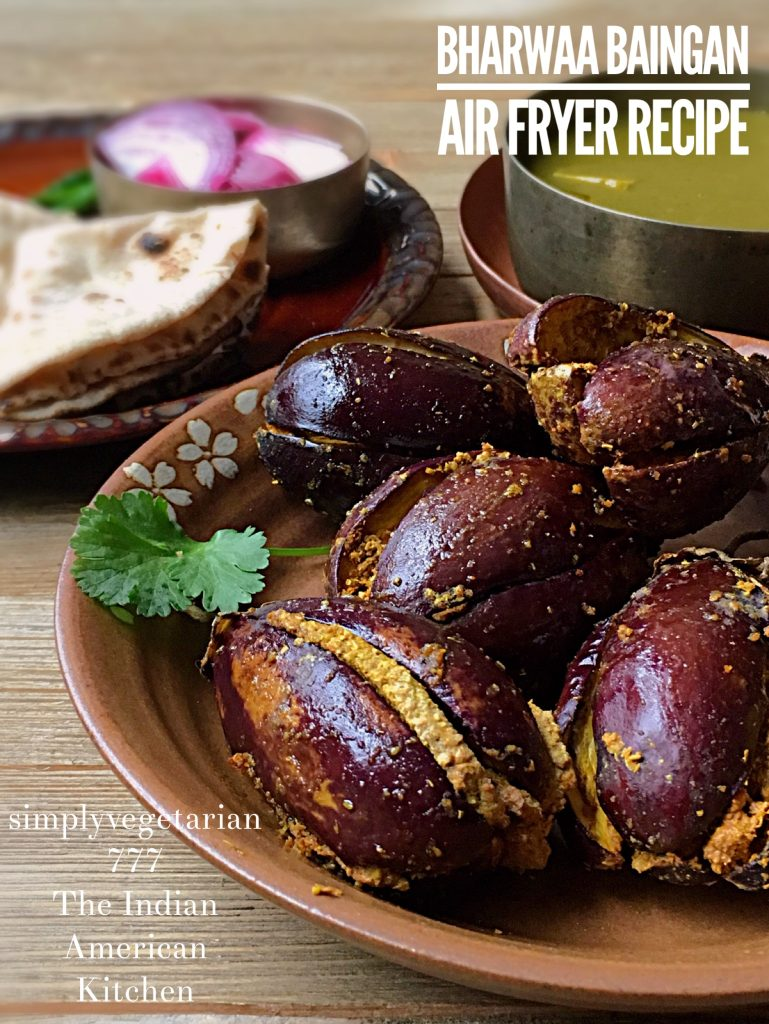 Bharwaan Baingan Air Fryer Recipe is an EASY, EFFICIENT & DELICIOUS Recipe for all the Eggplant lovers. This dish can be made in 15 minutes from start to finish and with VERY LESS OIL. Easy to Make and Yummy to Eat. #airfryerrecipes #vegetarianairfryerrecipe #glutenfreevegan #plantbased #philipsairfryer #eggplantrecipes #indianrecipes #indianairfryerrecipes #indianeggplantrecipes #eggplantairfryer