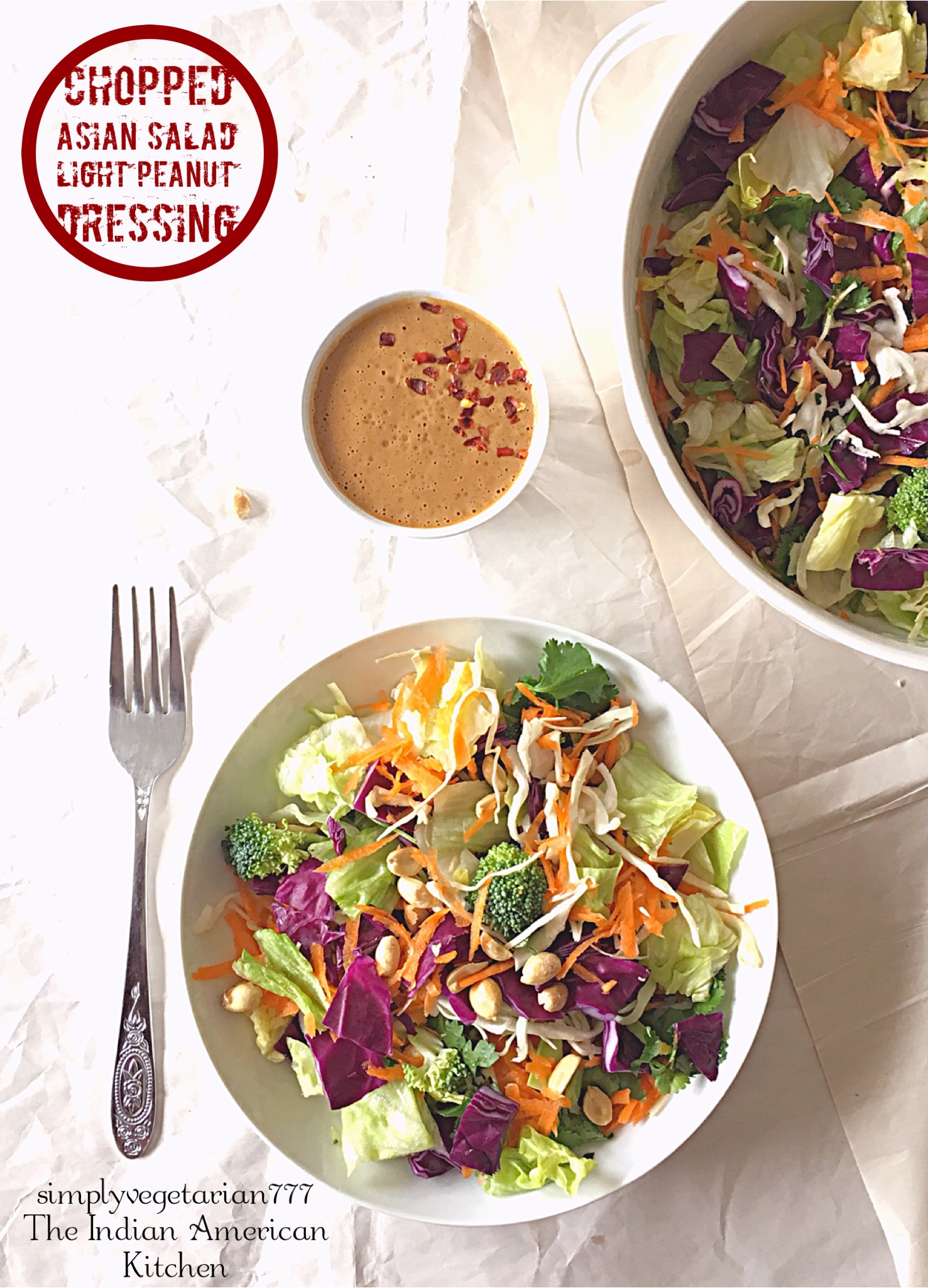 Chopped Asian Salad with Light Peanut Dressing is an easy salad recipe that is delicious, healthy and filling. It is better than the Cafe Salads. The Peanut Dressing is homemadeand is lighter than the store bought Salad Dressing. This salad makes a perfect lunch or a light meal to share with family and friends. #asiansalad #choppedsalad #salad #lunchideas #lightmeals #peanutdressing #lightsaladdressing #healthylunch #vegetarianmeals #vegetariansalad #vegansalad #glutenfreemeals #glutenfreesalad #veganasianrecipes #cafestylesalad #crunchysalad
