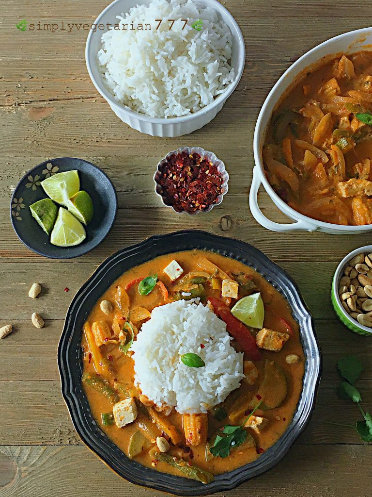 This Instant Pot Red Thai Curry Recipe is a delicious treat from Thai Cuisine. The curry is Easy and Simple to make and has Tofu & Mix Vegetables in it. Thai Curry tastes best when served warm with some Rice on the side. It is Vegan, Glutenfree and has no added oil to it. Find some hidden Tips to personalize it. #instantpotveganrecipes #instantpotasianrecipes #instantpotasianvegan #instantpotthaicurry #instantpotredthaicurry #veganthaicurry #veganredthaicurry #tofu