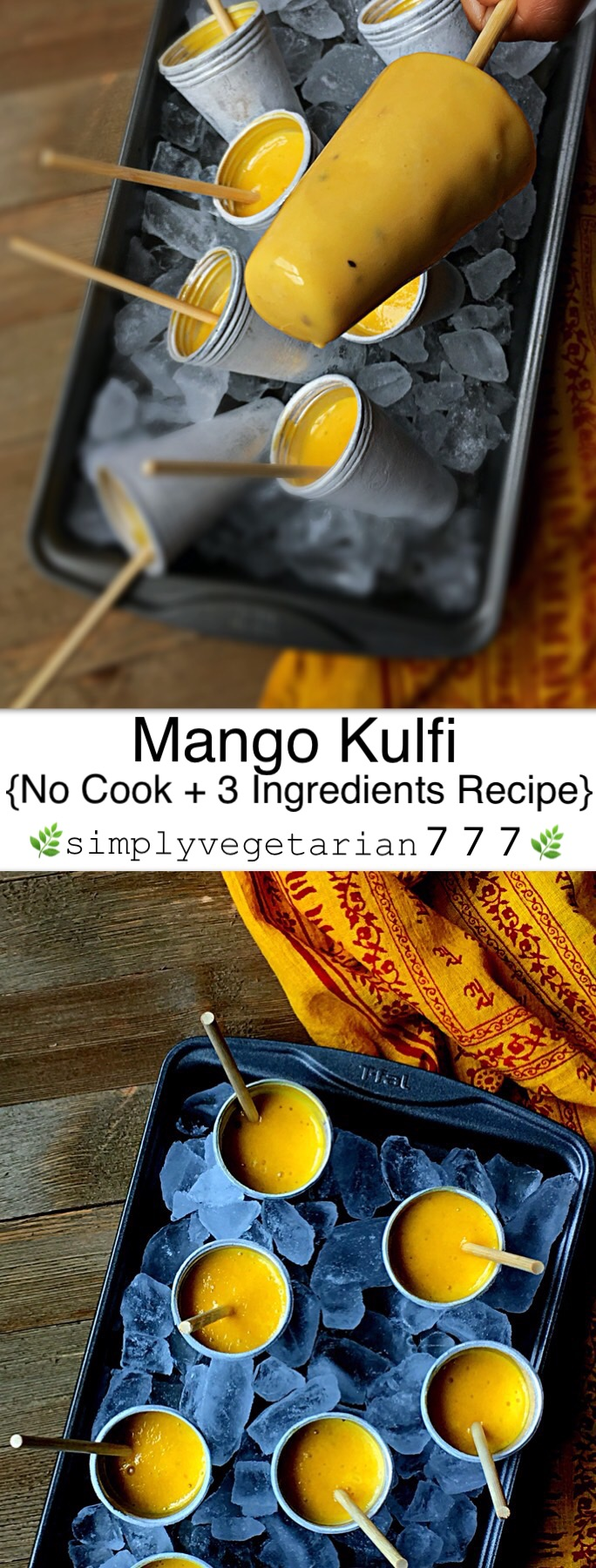 This Mango Ice Cream No CookRecipe is a perfectSUMMER TREAT. The best part is that it is made with just 3 ingredients and is super EASY + DELICIOUS. Make it for your family or make it to entertain your guests. You will make it again and again. It is that stupendously easy. #mangokulfi #kulfi #icecream #indiandessert #mangorecipes #condensedmilk