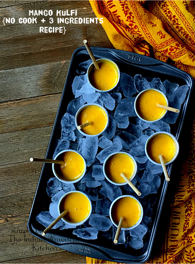This Mango Icecream No CookRecipe is a perfectSUMMER TREAT. The best part is that it is made with just 3 ingredients and is super EASY + DELICIOUS. Make it for your family or make it to entertain your guests. You will make it again and again. It is that stupendously easy. #mangokulfi #kulfi #icecream #indiandessert #mangorecipes #condensedmilk
