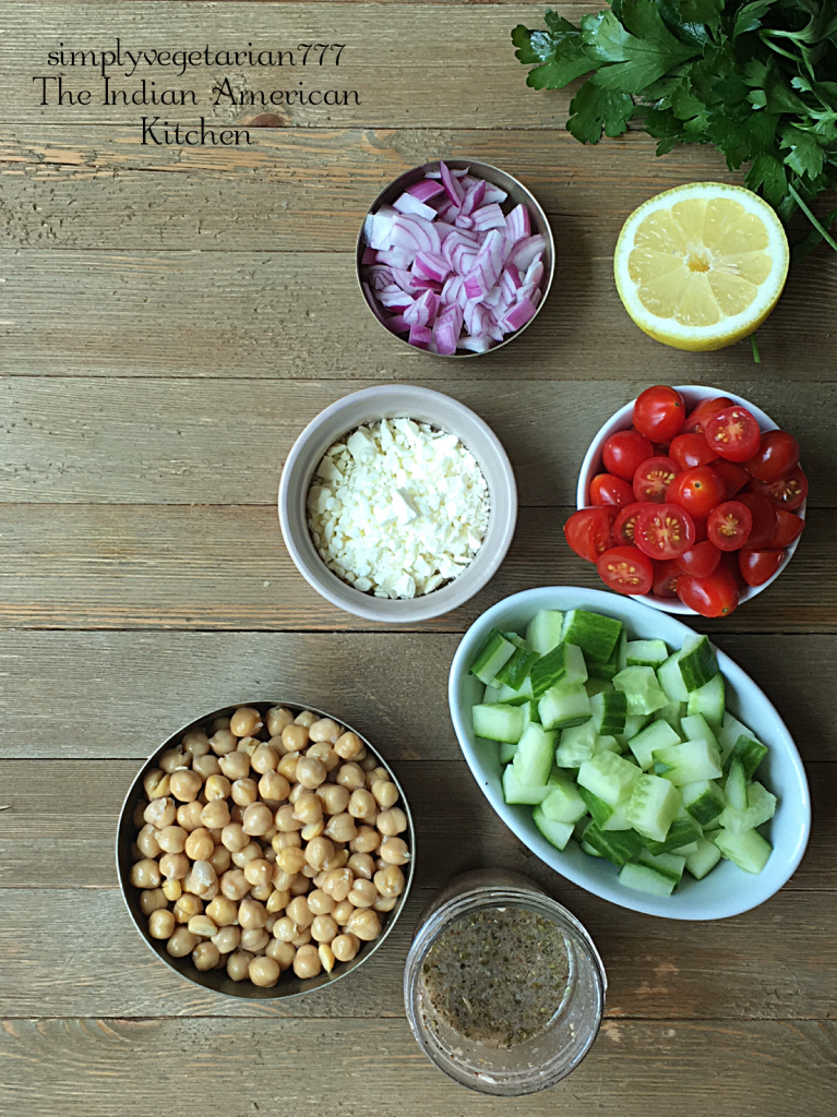 This Chickpeas Greek Salad is a super delicious recipe. It can be eaten as is as a salad or can be stuffed inside a pita or rolled in a wrap to make a mini meal. The salad is so easy to put together. Also, learn how to make Greek Salad Dressing at home with ease. #salad #greeksalad #vegetariansalad #easysalad #chickpeas #lightmeals #saladdressing #greek