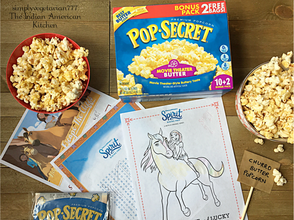 Churro Butter Popcorn is the best thing to happen when catching up on the 6th Season of SPIRIT RIDING FREE. It is a perfect scenario before kids go back to school. Just pop some corn, add some Churro Butter and indulge. That equals BONDING + YUM together. These are delicious and super easy to make with POP SECRET MOVIE THEATER BUTTER POPCORN bought at our favorite store Walmart. #Pop4Spirit #Pmedia #ad