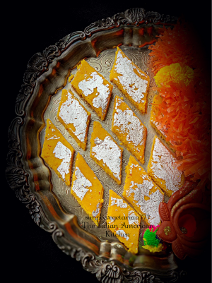 Badam Katli is an easy & yum Dessert. It is made of almonds. This recipe is made with just 3 ingredients in the microwave. Find the detailed post with pictures. #diwalimithai #diwalisweets #badamkatli #almondfudge #veganglutenfreedessert #easydessert #quickdessert #indiandessert #almondflourrecipe