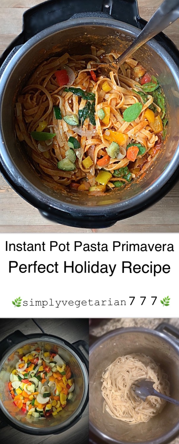 Instant Pot Pasta Primavera made with Rainbow Carrots and other Seasonal Vegetables is a perfect recipe for the Holiday Season. Serve it for Thanksgiving or any Dinner night. It is simply delicious.#instantpotpasta #thanksgivingrecipe #pastaprimavera #fettucine #Vegetablepasta #holidaypasta