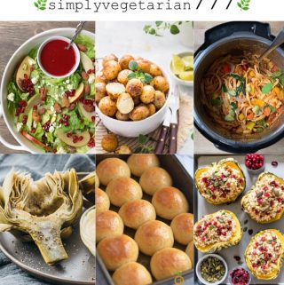 Instant Pot Vegetarian Thanksgiving Sides are the popular dishes of the Holiday Season. This collection has something for everyone. It covers it all from Potatoes, Vegetables, Salads, Pasta, Rice, Breads to Desserts. #thanksgivingsides #vegetariansides #instantpotholidaysides