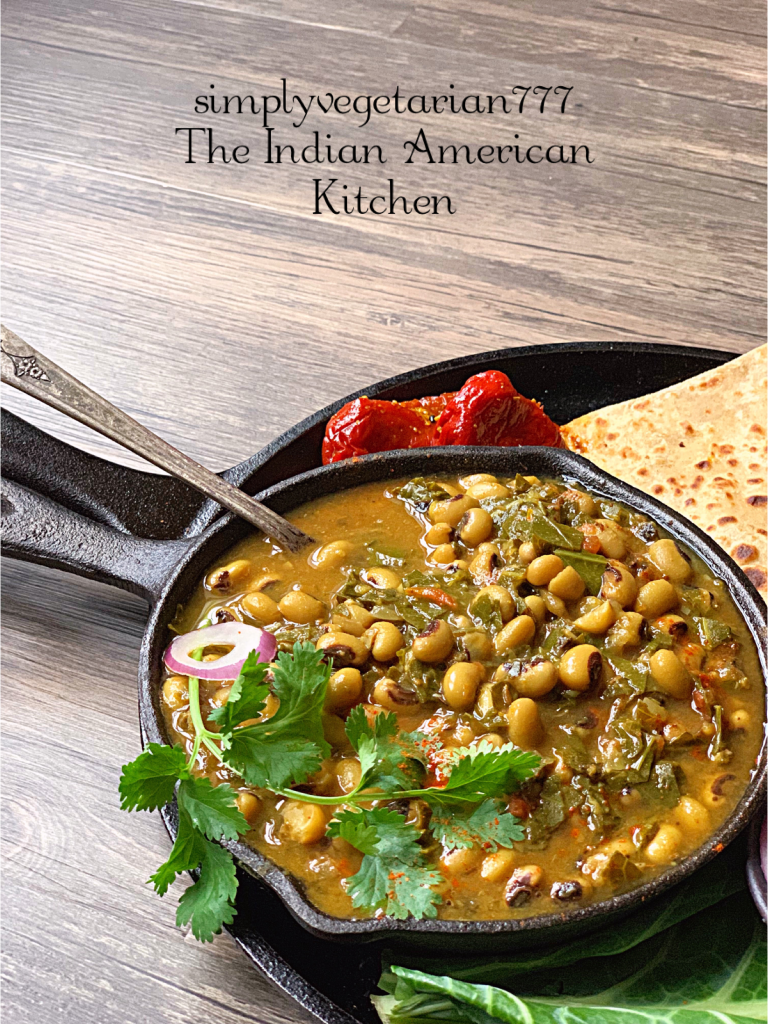 Black Eyed Peas Curry is a super delicious curry made in Instant Pot. It is a vegan and glutenfree stew. Warm Indian Spices make it perfect for any season. #collardgreensbeans #instantpotbeans #instantpotvegetarian #instantpotrecipes #blackeyedpeascollardgreens #newyearsbeansandgreens #blackeyedpeascurry #instantpotstew