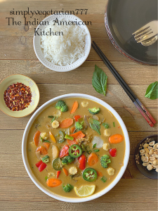 Instant Pot Green Thai Curry is a simple and delicious curry from Thai Cuisine. This recipe is very easy to make, kind of put all of it together and cook. The best part is that it is Oil-Free + vegan + Glutenfree. It goes very well with Jasmine Rice or Rice Noodles. #veganthaicurry #instantpotthairecipe #greenthaicurry #vegetablethaicurry #easythaicurry