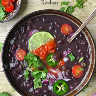 Instant Pot Mexican Black Beans is a must make recipe. It is not only Vegan & Gluten-free but also a Dump & Cook Recipe. The Vegan Mexican Black Beans or Frijoles Negros are best served as a side to your Mexican spread or eat as is as a Black Bean Soup. #mexicanblackbeans #instantpotblackbeans #instantpotveganbeans #instantpotmexicanbeans #frijolesnegros #blackbeansoup