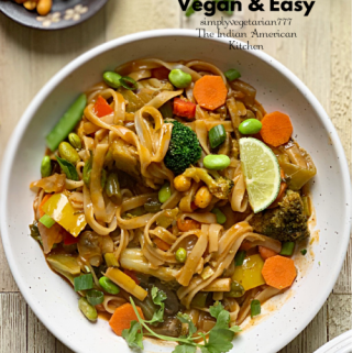 Thai Curry Noodles Instant Pot Recipe is a delicious recipe. It is loaded with vegetables, super easy to make and is VEGAN. This is quick to put together and so comforting. #Thaicurrynoodlesinstantpot #instantpotthairecipes #instantpotveganthai #ThaiCurryNoodles #RedThaiCurryNoodles #Asianvegan