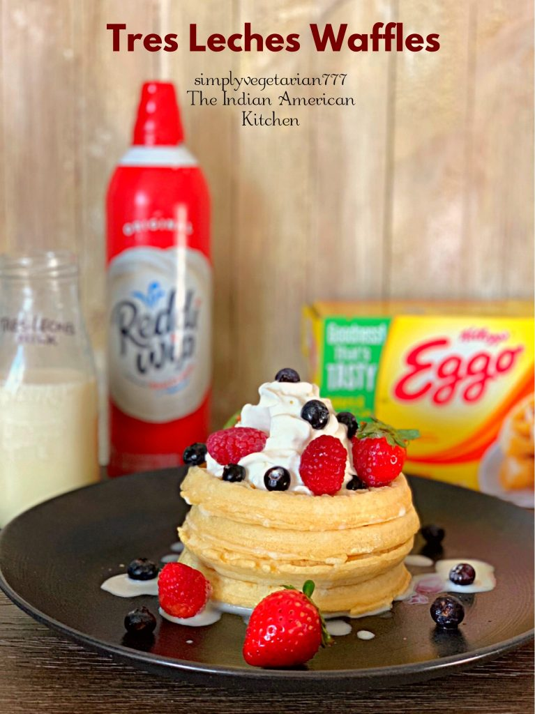 Tres Leches Waffles are super yum. These are made with Eggo Waffles, Reddi-Wip bought from Walmart. And are best enjoyed while watchig SPIRIT RIDING FREE on Netflix. #AddSpirit2Breakfast #Pmedia #ad #waffles #tresleches #whippedcream #breakfastideas