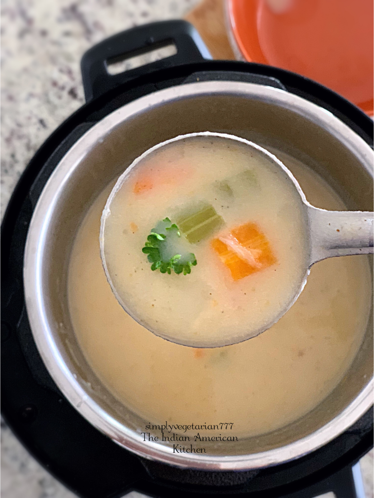 Instant Pot Irish Potato Soup is a Delicious recipe, that is Easy & Quick. Irish Potato Soup is a filling soup inspired from Irish Cuisine. #irishpotatosoup #veganpotatosoup #potatostew #easysouprecipes #instantpotirishpotatosoup #instantpotveganrecipes