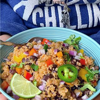 You are going to love this Instant Pot Quinoa Burrito Bowl Recipe. It is Super Yummy, Very Easy, Really Quick, and made with only 5 Main Ingredients. The best part is that it is VEGAN & GLUTENFREE Quinoa Burrito Bowl Recipe. #instantpotquinoa #quinoaburritobowl #texmexquinoa #veganquinoa #veganmexican #tacorice #tacoquinoa