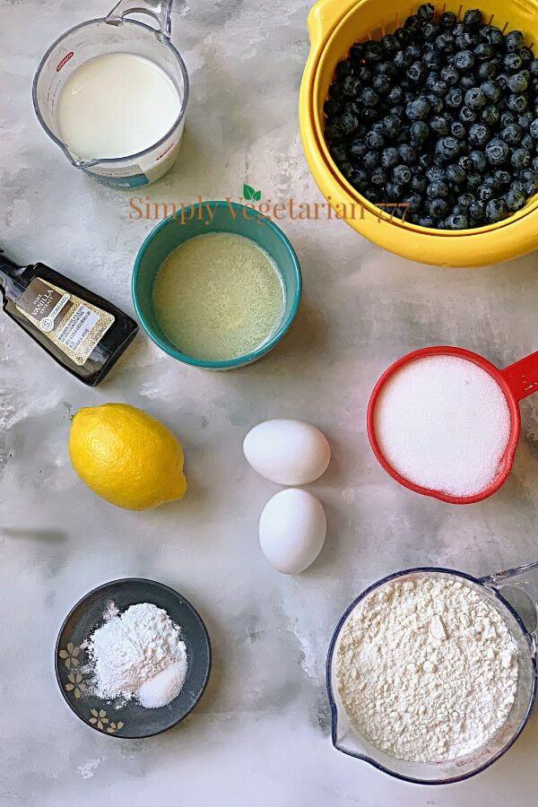 Ingredients of lemon cake